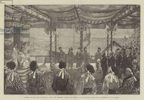 Opening of the First Railway in Japan, Mr Marshall reading the Address of the Leading Merchants of Yokohama to the Mikado (engraving)