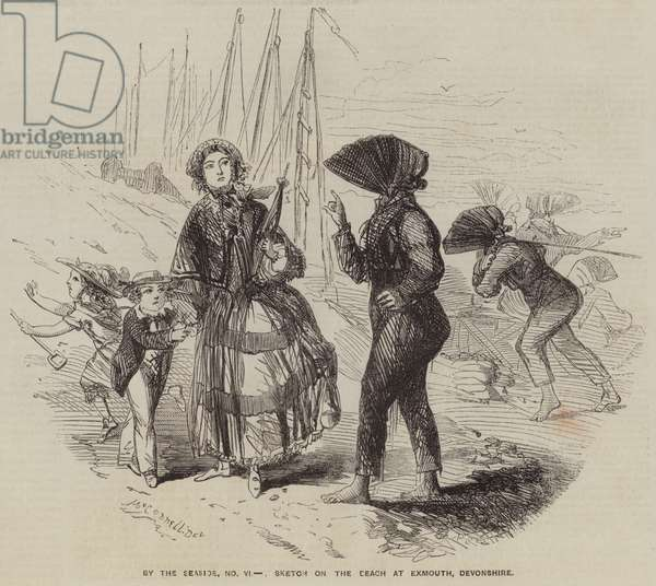 By the Seaside, Sketch on the Beach at Exmouth, Devonshire (engraving)