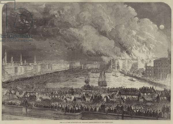 The Great Fire at Southwark, showing London-Bridge in the Foreground (engraving)