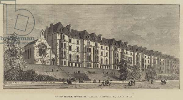 United Service Proprietary College, Westward HO, North Devon (engraving)