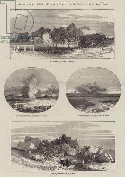 Experiments with Gun-Cotton and Gunpowder, near Hastings (engraving)