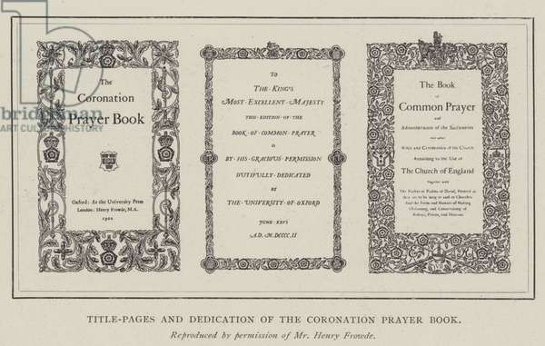 Title-Pages and Dedication of the Coronation Prayer Book (engraving)