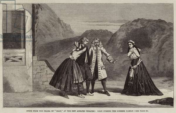 """Scene from the Drama of """"Leah,"""" at the New Adelphi Theatre, Leah cursing the Lorrenz Family (engraving)"""