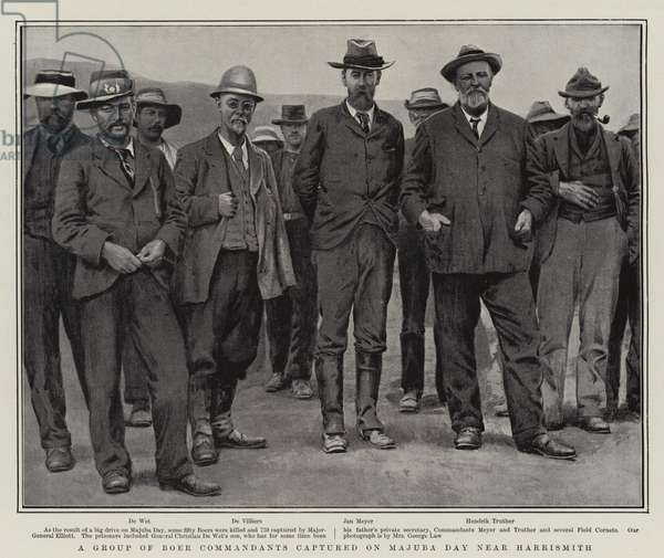 A Group of Boer Commandants captured on Majuba Day near Harrismith (litho)