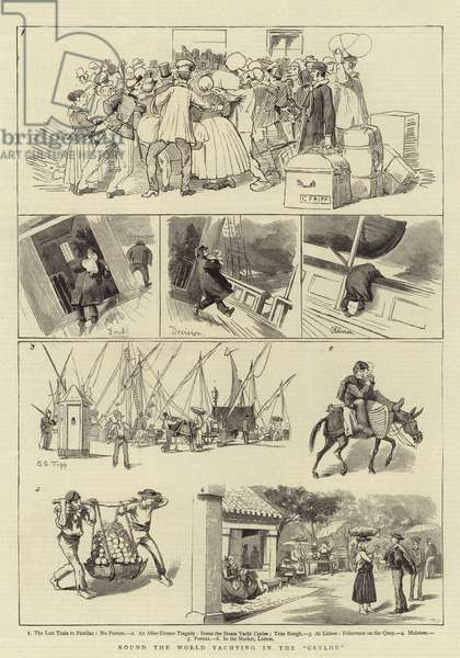 """Round the World Yachting in the """"Ceylon"""" (engraving)"""