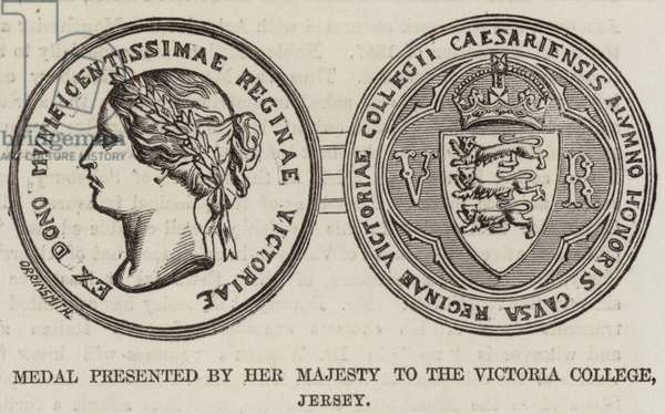 Medal presented by Her Majesty to the Victoria College, Jersey (engraving)