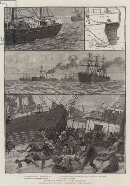 The Collision between the SS Celtic and Britannic (engraving)