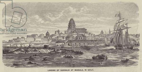 Landing of Garibaldi at Marsala, in Sicily (engraving)