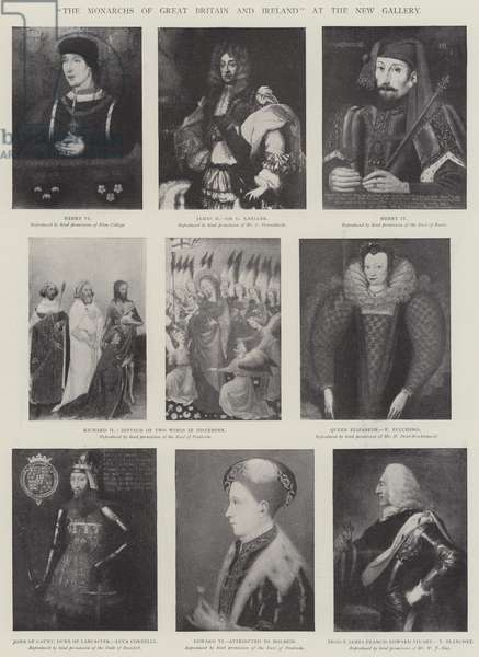 """The Monarchs of Great Britain and Ireland"" at the New Gallery (litho)"