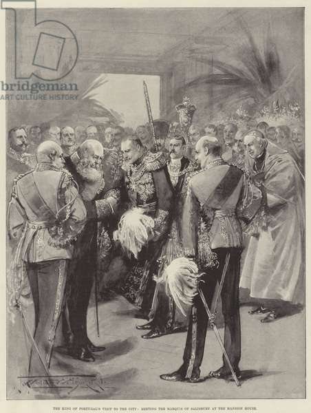 The King of Portugal's Visit to the City, meeting the Marquis of Salisbury at the Mansion House (litho)
