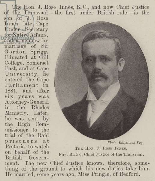 The Honourable J Rose Innes, First British Chief Justice of the Transvaal (b/w photo)