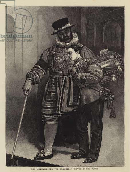 The Beefeater and the Drummer, a Sketch in the Tower (engraving)