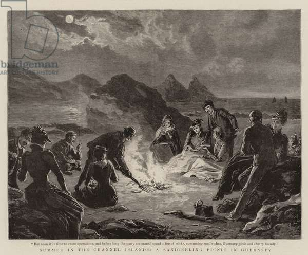 Summer in the Channel Islands, a Sand-Eeling Picnic in Guernsey (engraving)