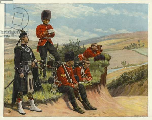 Soldiers Watch and wait (colour litho)