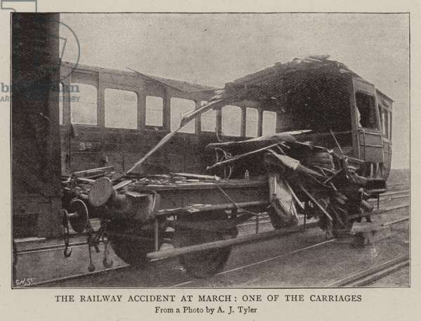The Railway Accident at March, one of the Carriages (b/w photo)