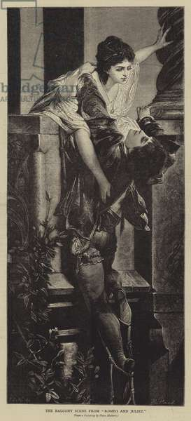 """The Balcony Scene from """"Romeo and Juliet"""" (engraving)"""