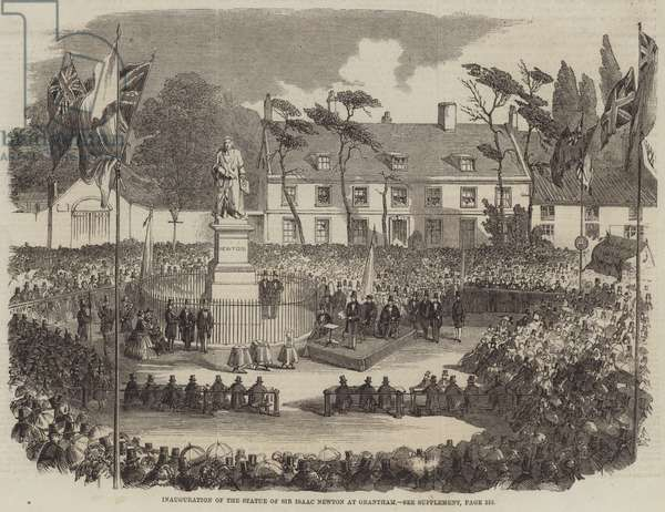 Inauguration of the Statue of Sir Isaac Newton at Grantham (engraving)