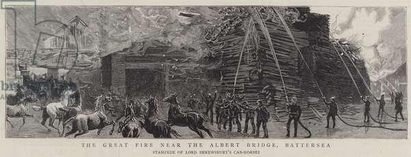 The Great Fire near the Albert Bridge, Battersea (engraving)