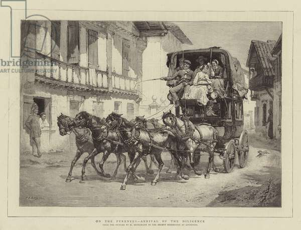 On the Pyrenees, Arrival of the Diligence (engraving)