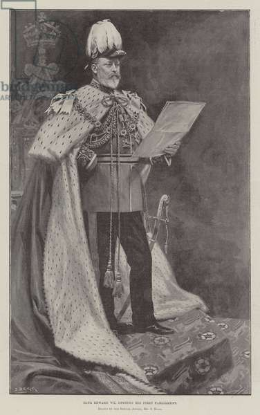King Edward VII opening his First Parliament (litho)