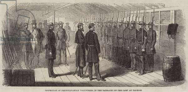 Inspection of Pennsylvanian Volunteers in the Barracks of the Camp at Illinois (engraving)