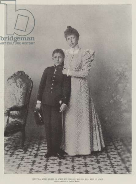 Christina, Queen-Regent of Spain, and her Son, Alfonso XIII, King of Spain (b/w photo)