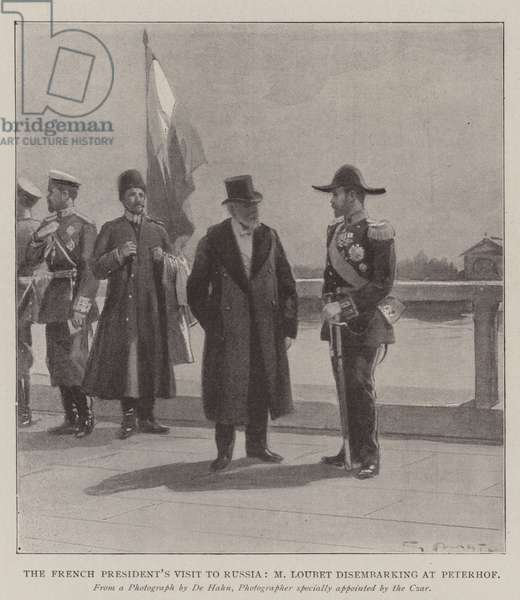 The French President's Visit to Russia, M Loubet disembarking at Peterhof (litho)