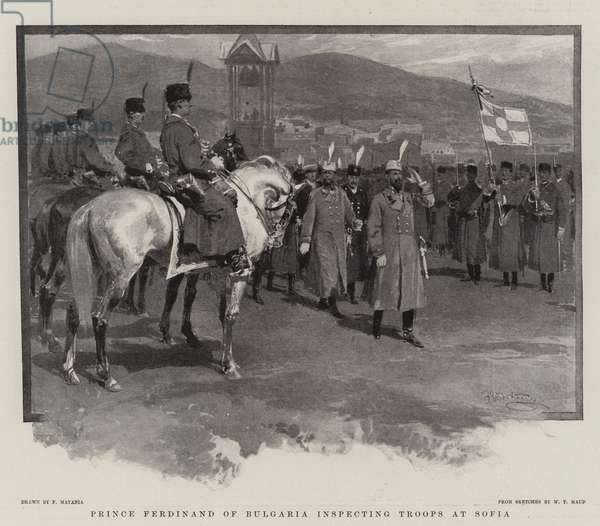 Prince Ferdinand of Bulgaria inspecting Troops at Sofia (litho)
