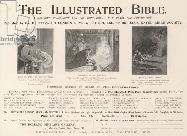Advertisement, Illustrated Bible (engraving)
