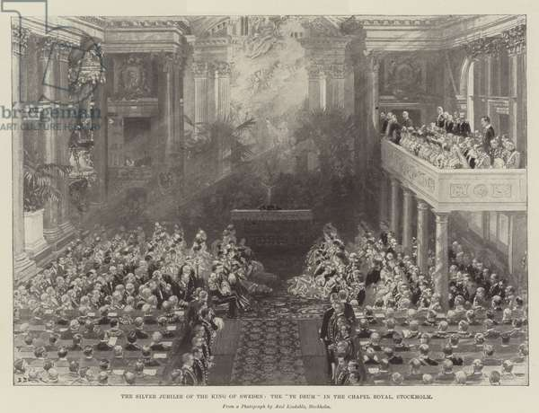 """The Silver Jubilee of the King of Sweden, the """"Te Deum"""" in the Chapel Royal, Stockholm (engraving)"""