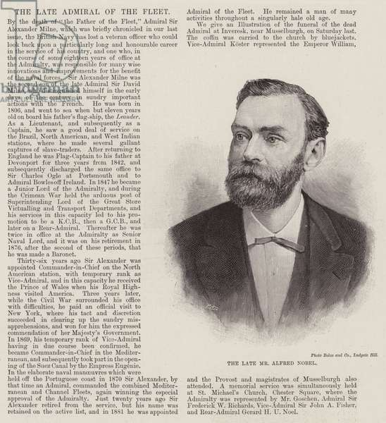 The late Mr Alfred Nobel (engraving)