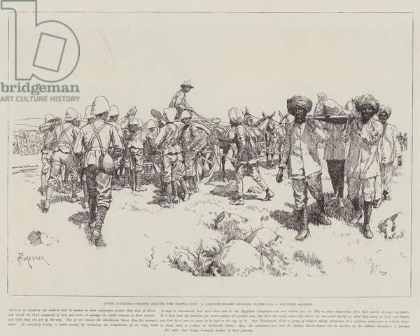 After Colenso, Troops around the Water-Cart, a Dhoolie-Bearer begging Water for a Wounded Soldier (litho)