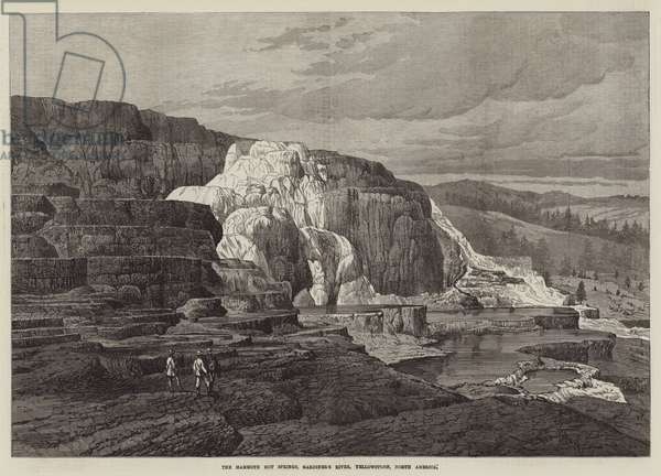 The Mammoth Hot Springs, Gardiner's River, Yellowstone, North America (engraving)