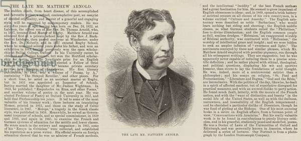 The late Mr Matthew Arnold (engraving)