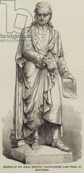 Statue of Sir Isaac Newton, inaugurated Last Week at Grantham (engraving)
