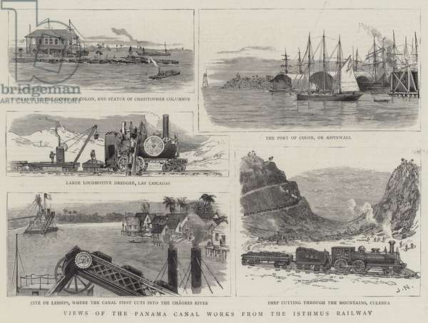 Views of the Panama Canal Works from the Isthmus Railway (engraving)