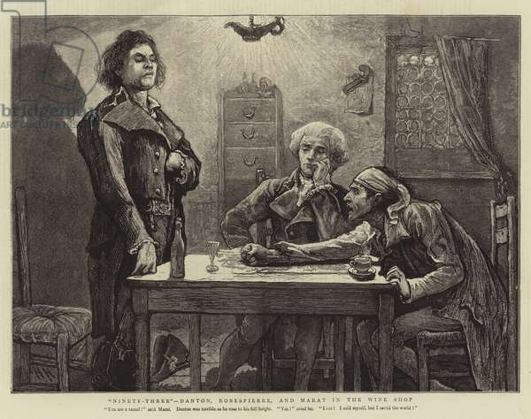 """Ninety-Three"", Danton, Robespierre, and Marat in the Wine Shop (engraving)"