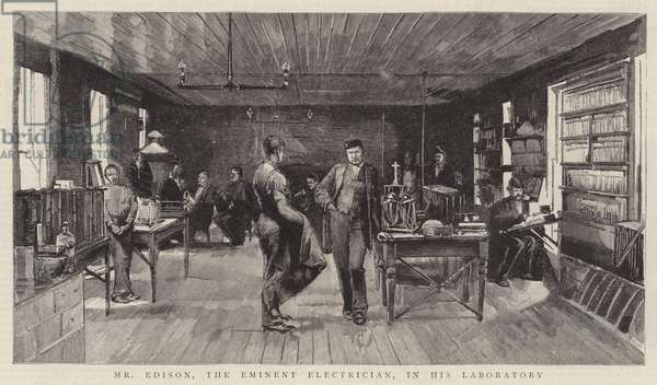Mr Edison, the Eminent Electrician, in his Laboratory (engraving)