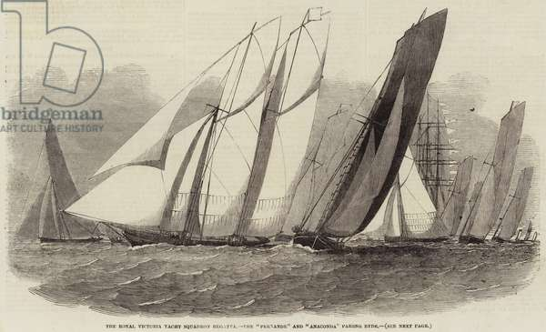 """The Royal Victoria Yacht Squadron Regatta, the """"Fernande"""" and """"Anaconda"""" passing Ryde (engraving)"""