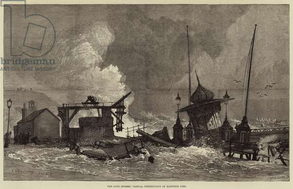 The Late Storms, Partial Destruction of Hastings Pier (engraving)