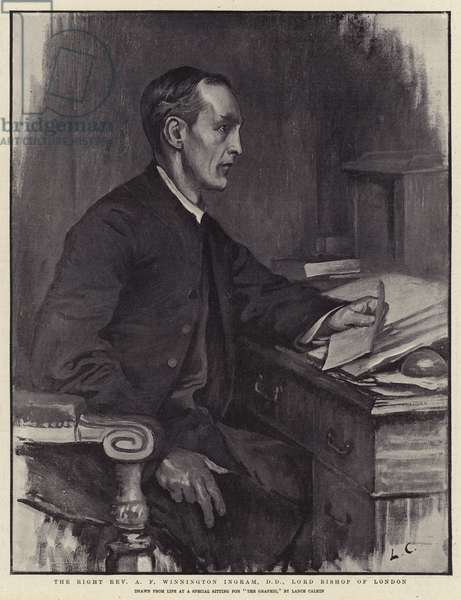 The Right Reverend A F Winnington Ingram, DD, Lord Bishop of London (litho)