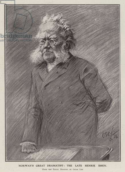 Norway's great dramatist: the late Henrik Ibsen (litho)