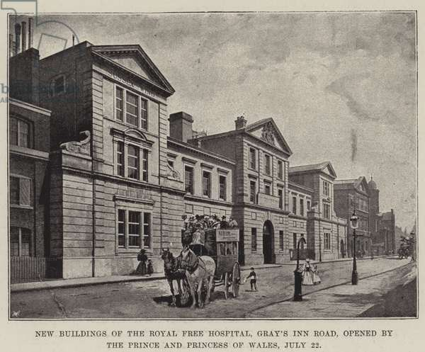 New Buildings of the Royal Free Hospital, Gray's Inn Road, opened by the Prince and Princess of Wales, 22 July (litho)