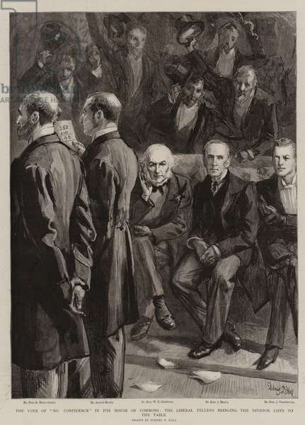 "The Vote of ""No Confidence"" in the House of Commons, the Liberal Tellers bringing the Division Lists to the Table (engraving)"