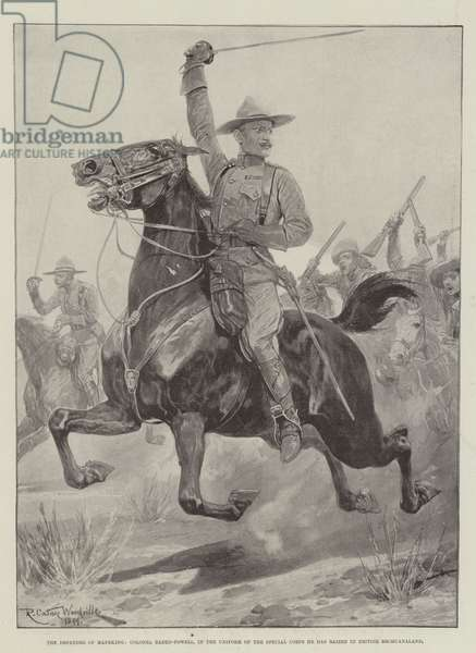 The Defender of Mafeking, Colonel Baden-Powell, in the Uniform of the Special Corps he has raised in British Bechuanaland (engraving)
