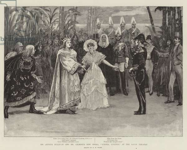 """Sir Arthur Sullivan and Mr Gilbert's New Opera, """"Utopia, Limited,"""" at the Savoy Theatre (engraving)"""