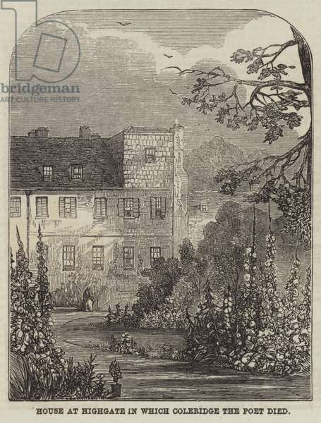 House at Highgate in which Coleridge the Poet died (engraving)