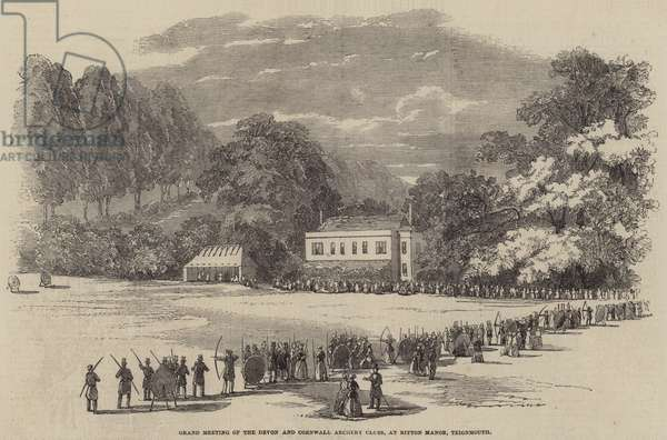Grand Meeting of the Devon and Cornwall Archery Clubs, at Bitton Manor, Teignmouth (engraving)
