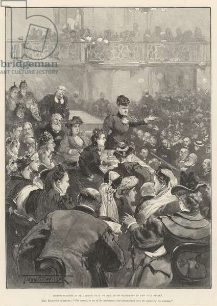 Demonstration at St James's Hall on behalf of Sufferers in the Coal Strike (engraving)