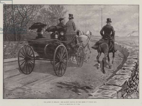 The Queen in Ireland, Her Majesty driving by the Shore of Dublin Bay (litho)